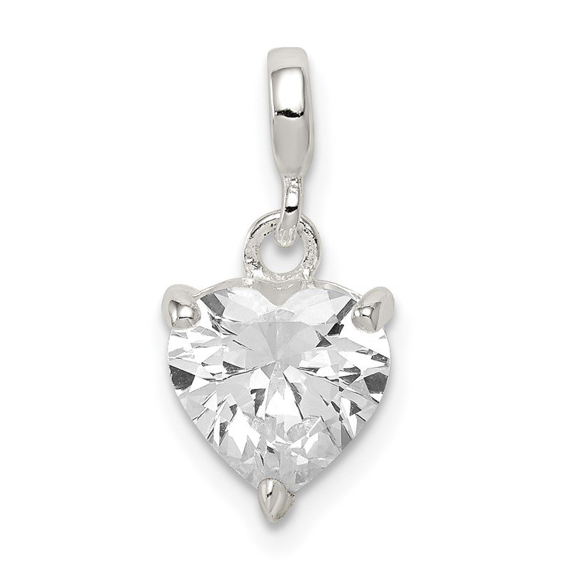 Quality Gold Sterling Silver Clear CZ Heart Enhancer