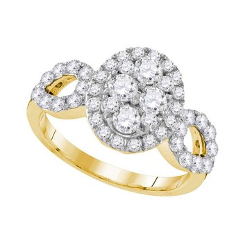 10kt Yellow Gold Womens Round Diamond Oval Frame Cluster Ring 1-3/4 Cttw
