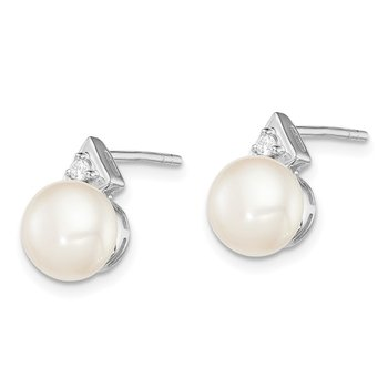 Sterling Silver Rhodium-plated 7-8mm White FWC Pearl CZ Post Earrings