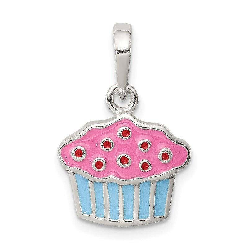 Fine Jewelry by JBD Sterling Silver Polished Enamel Cupcake Child Pendant
