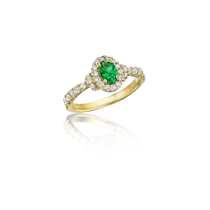 Fana Pure Perfection Dainty Emerald and Diamond Ring