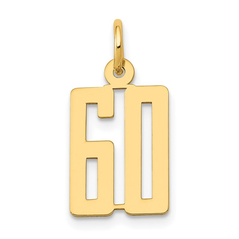 Quality Gold 14k Small Polished Elongated 60 Charm