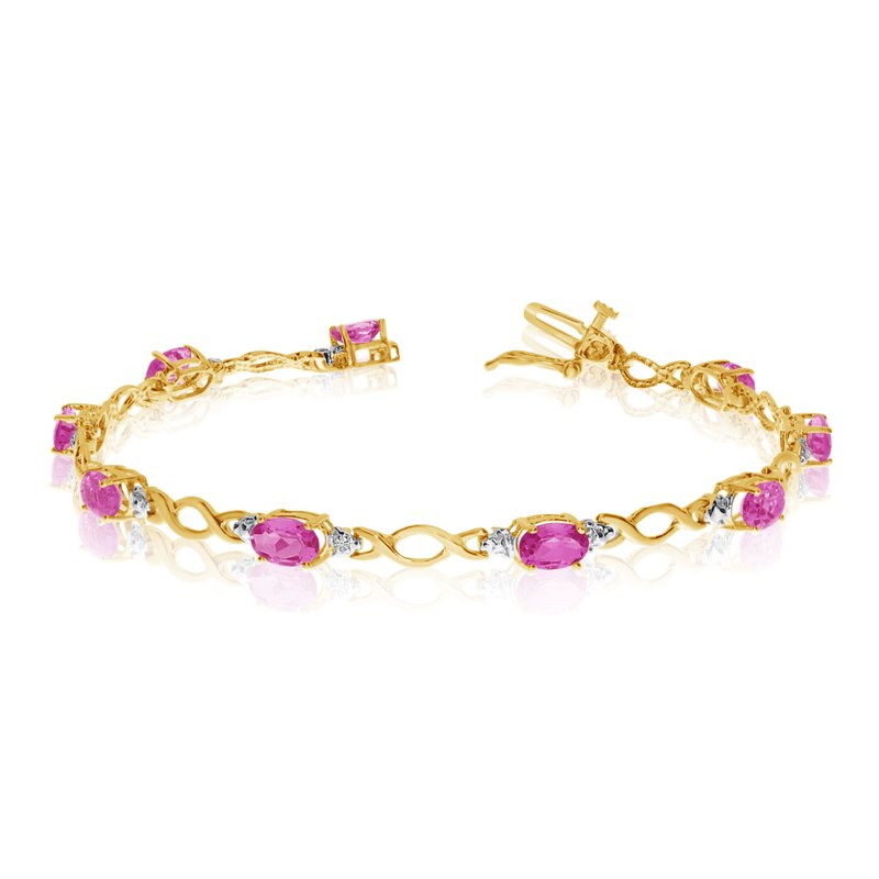 Color Merchants 10K Yellow Gold Oval Pink Topaz and Diamond Bracelet
