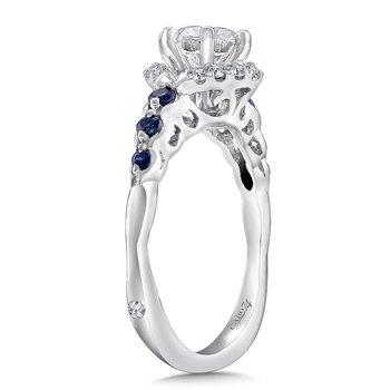 Diamond and Blue Sapphire Engagement Ring Mounting in 14k White Gold with Platinum Head (.13 ct. tw.)