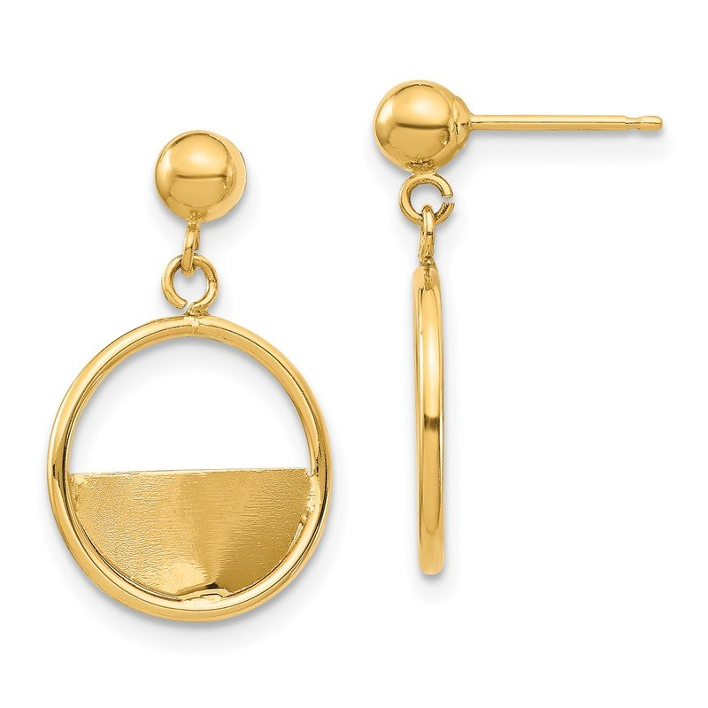 Quality Gold 14K Circle Dangle Post Earrings