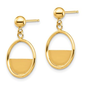 14K Circle Dangle Post Earrings