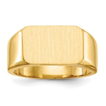 14k 10.0x15.0mm Closed Back Men's Signet Ring