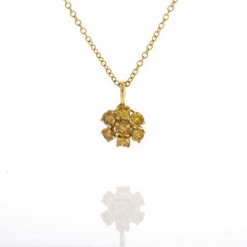 FANCY YELLOW DIAMOND CLUSTER PENDANT
