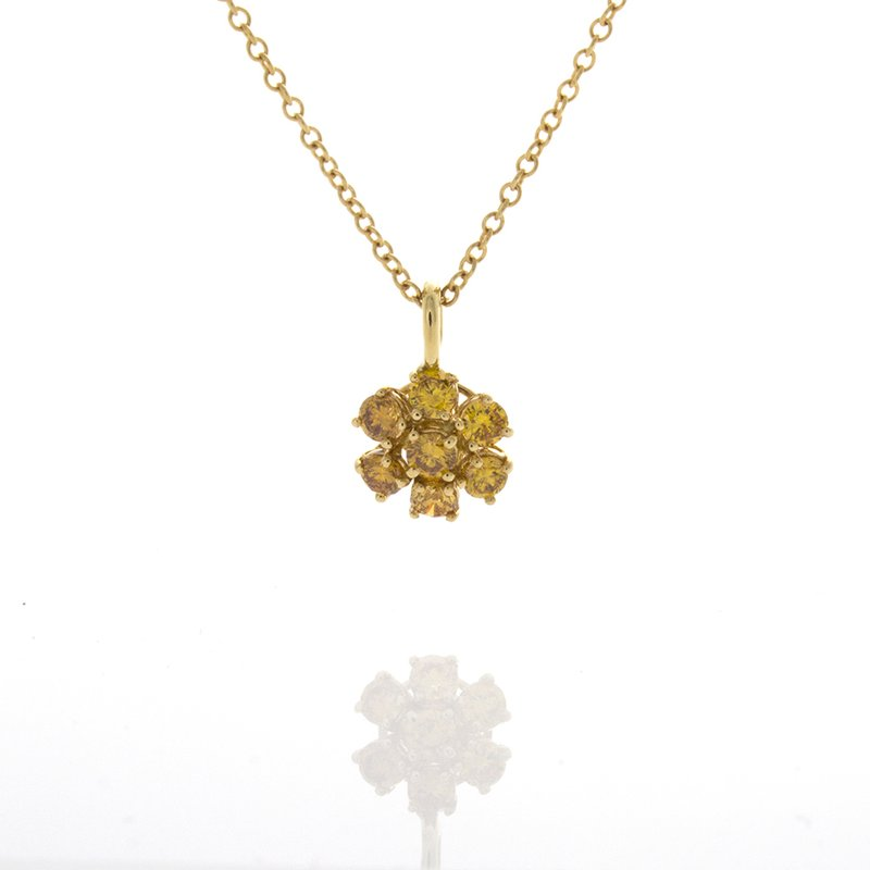 William Levine FANCY YELLOW DIAMOND CLUSTER PENDANT