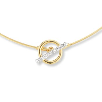 14K-Y WIRE NECK. W/ TOGGLE CLASP, 0.10CT