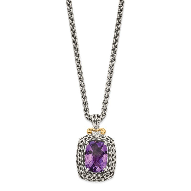 Fine Jewelry by JBD Sterling Silver w/14k Diamond & Amethyst Necklace