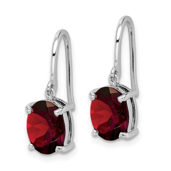Sterling Silver Rhodium Garnet Wire Earrings