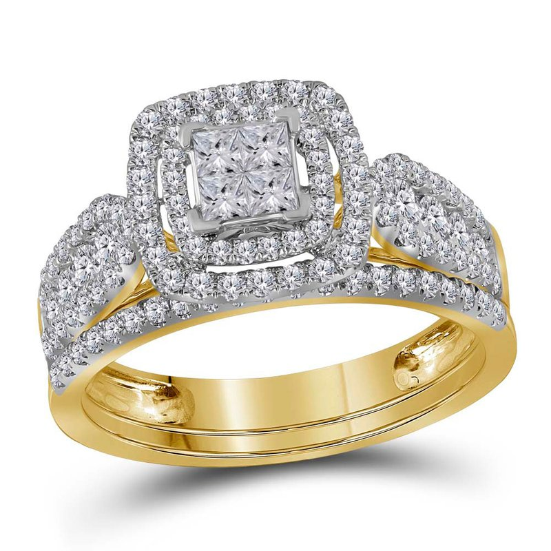 Kingdom Treasures 14kt Yellow Gold Womens Princess Diamond Double Halo Bridal Wedding Engagement Ring Band Set 1.00 Cttw