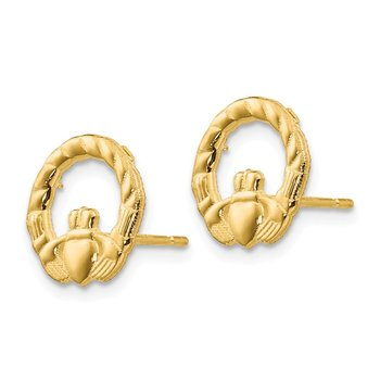 14k Claddagh Post Earrings