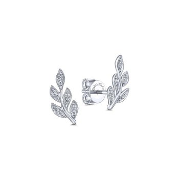 14k White Gold Diamond Leaves Stud Earrings