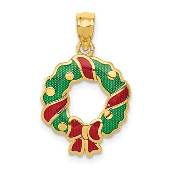 14k Enameled Wreath Pendant