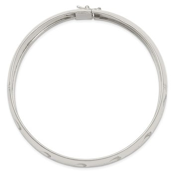 Sterling Silver Polished D/C and Textured Adjustable Bangle