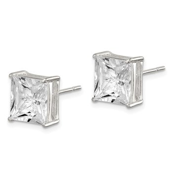 Sterling Silver 9mm Square CZ Basket Set Stud Earrings