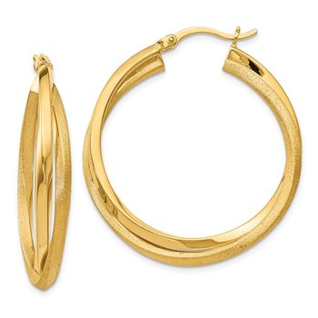 Leslie's Sterling Silver Radiant Essence Gold-plated Hoop Earrings
