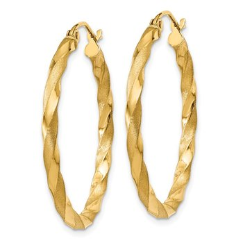 14k Polished & Satin Twisted Hoop Earrings
