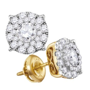 14kt Yellow Gold Womens Round Diamond Cluster Earrings 1-1/2 Cttw