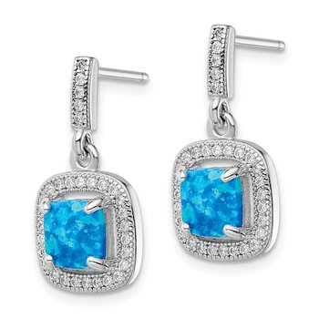 Sterling Silver Rhodium-plated Blue Created Opal CZ Post Earrings