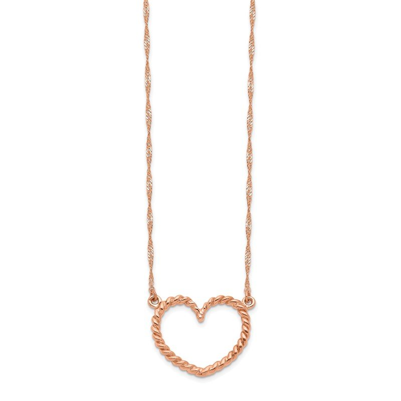 Quality Gold 14k Rose Gold Polished & Textured Heart Necklace