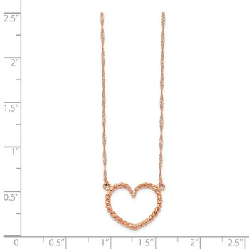 14k Rose Gold Polished and Textured Heart 17 inch Necklace