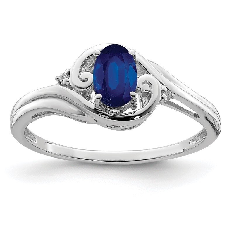 Quality Gold Sterling Silver Rhodium Plated Diamond & Sapphire Ring