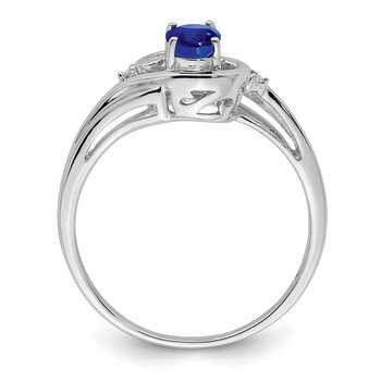Sterling Silver Rhodium Plated Diamond & Sapphire Ring