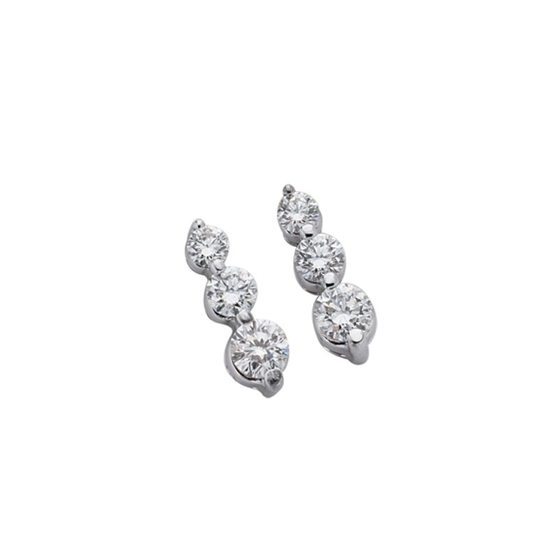 S. Kashi  & Sons Three Stone Earring
