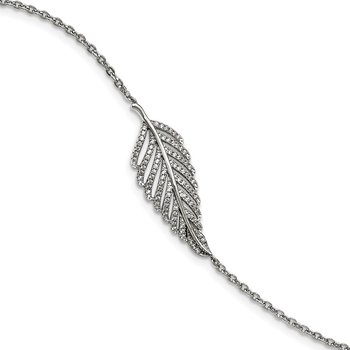 Sterling Silver Brilliant Embers Rhod-pl CZ Feather with 1in ext. Bracelet