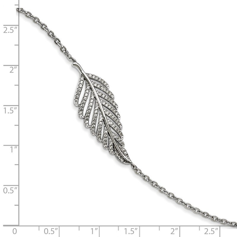 Quality Gold Sterling Silver Brilliant Embers Rhod-pl CZ Feather with 1in ext. Bracelet