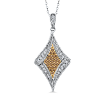 10K White & Yellow Gold 1/4 Ct Brown and White Diamond Fashion Pendant with Chain