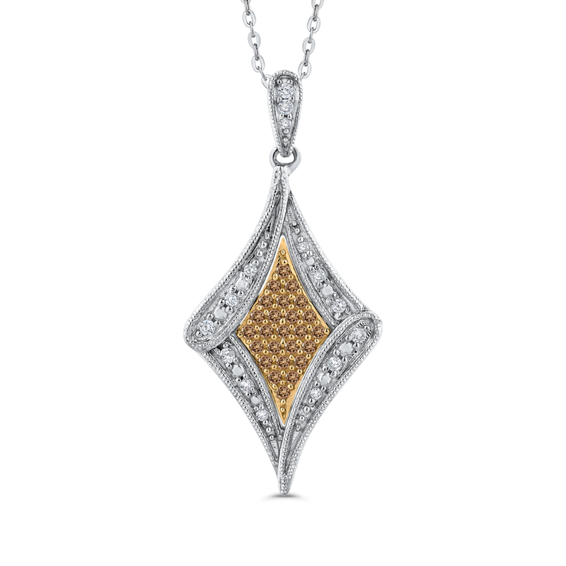 Essentials 10K White & Yellow Gold 1/4 Ct Brown and White Diamond Fashion Pendant with Chain