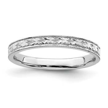 14K White Polished Floral Band