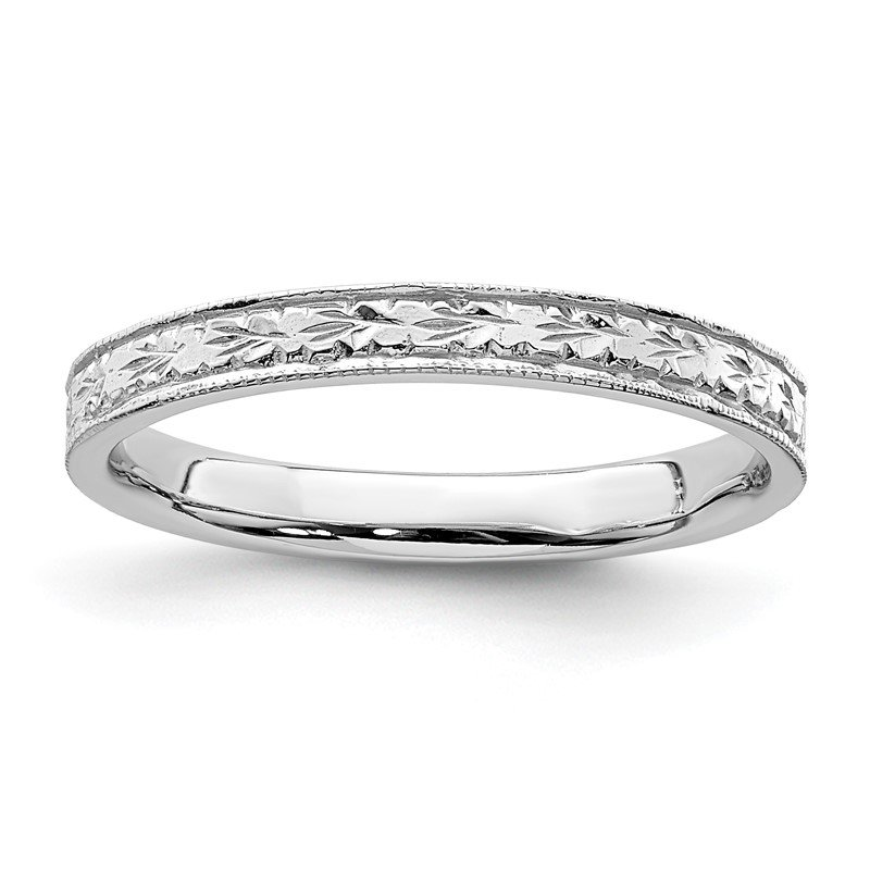 Quality Gold 14K White Polished Floral Band