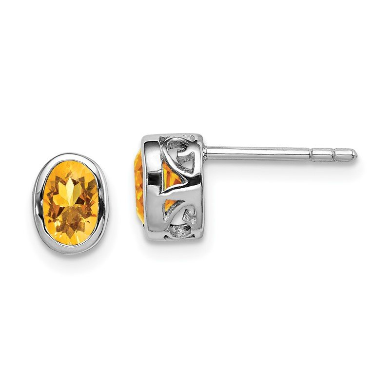 Quality Gold Sterling Silver Rhodium-plated Polished Citrine Oval Post Earrings