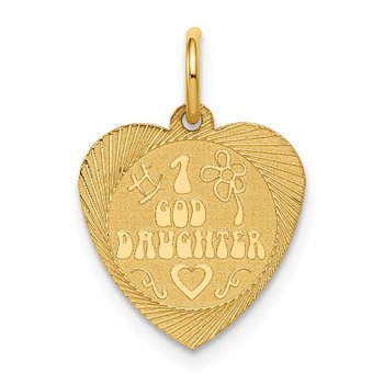 14k #1 GODDAUGHTER Heart Disc Charm