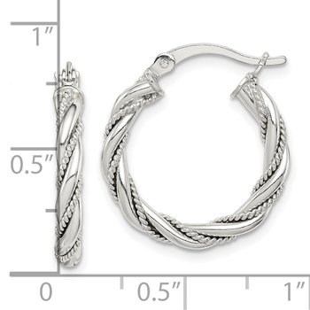 Sterling Silver Twisted Textured 3x20mm Hoop Earrings