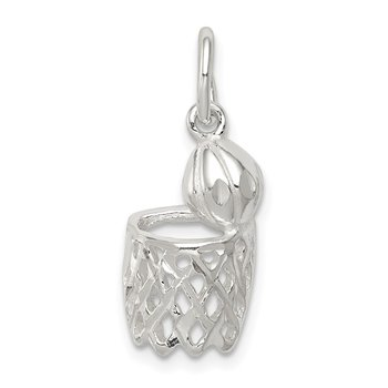 Sterling Silver Basketball Hoop Charm