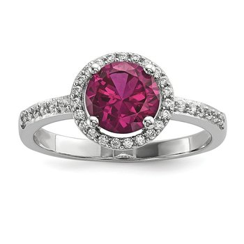 Sterling Silver & CZ Brilliant Embers Red Corundum Polished Ring