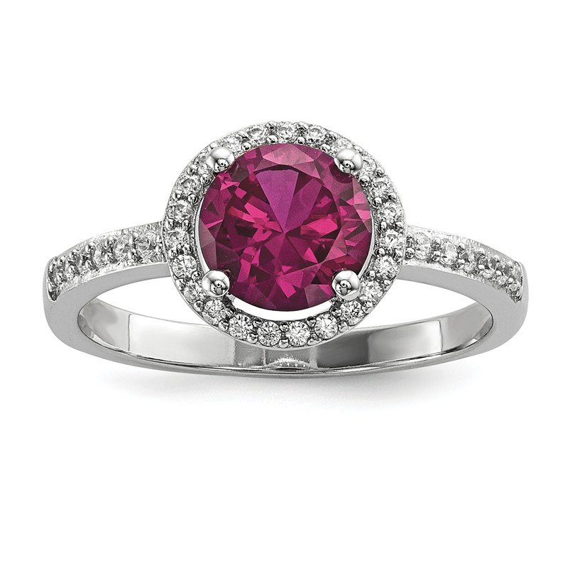 Arizona Diamond Center Collection Sterling Silver & CZ Brilliant Embers Red Corundum Polished Ring