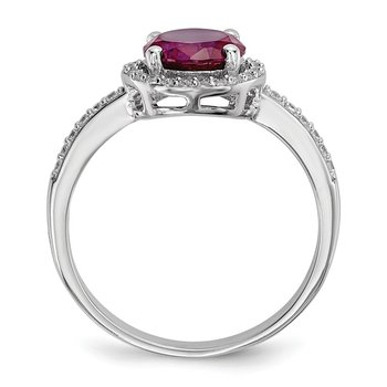 SS Rhodium-Plated CZ Brilliant Embers Red Corundum Ring