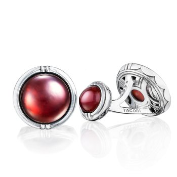Classic Cabochon Cuff Links featuring Garnet over Mother of Pearl