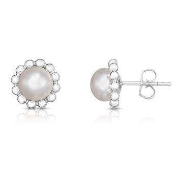 Silver Freshwater Pearl with Bead Halo Stud Earrings