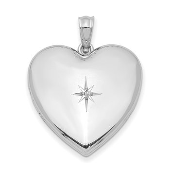 Sterling Silver Rhod-plated 24mm w/ Diamond Star Design Heart Locket