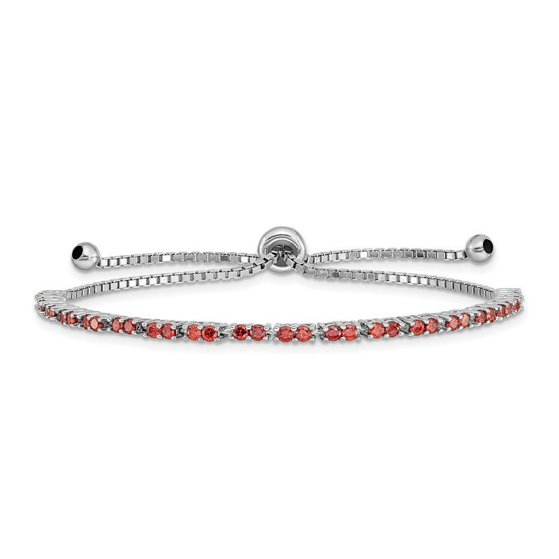 Quality Gold Sterling Silver Rhod-plated January Red CZ Adjustable Bracelet