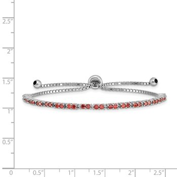 Sterling Silver Rhod-plated January Red CZ Adjustable Bracelet