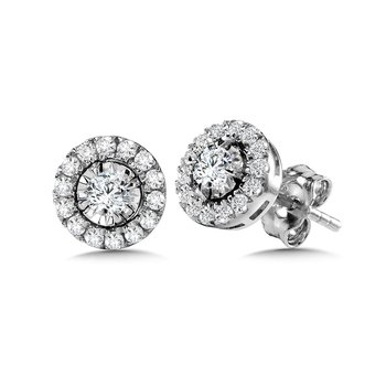 Diamond Star Round Halo Studs